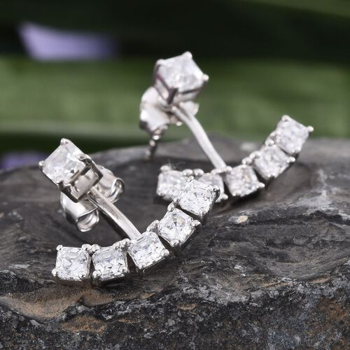 J Francis - Platinum Overlay Sterling Silver (Asscher Cut) Jacket Earrings (with Push Back) Made with SWAROVSKI ZIRCONIA
