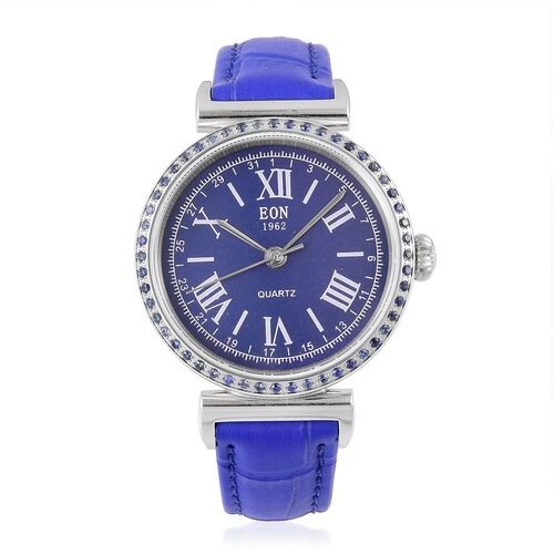 EON Swiss Movement Madagascar Blue Sapphire, 3ATM Water Resistant Watch in Blue Leather Strap
