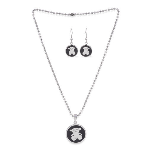 Close Out Deal White Austrian Crystal (Rnd) ION Plated Black Pendant and Hook Earrings with Stainless Steel Chain