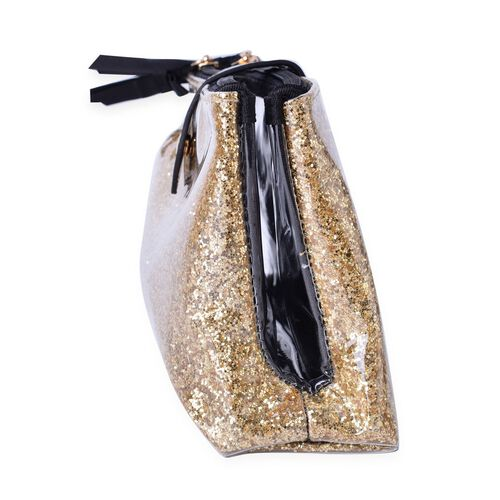 Golden Colour PVC Cosmetic Bag (Size 22x13x8 Cm)