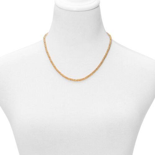 ION Plated Yellow Gold Stainless Steel Necklace (Size 20) and Bracelet (Size 8 with Extender)