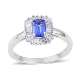 ILIANA 18K W Gold AAA Tanzanite (Oct 1.00 Ct), Diamond Ring 1.610 Ct.