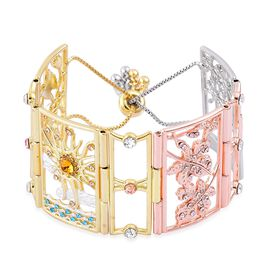 AAA Multi Colour Austrian Crystal Floral and Leaves Adjustable Bracelet (Size 6.5-9 ) in Yellow Gold, Rose Gold and Silver Tone