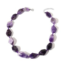 Amethyst Necklace (Size 18 with 1 inch Extender) in Stainless Steel 620.000 Ct.