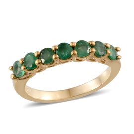 Kagem Zambian Emerald (Rnd) 7 Stone Ring in 14K Gold Overlay Sterling Silver 1.250 Ct.