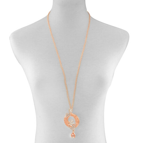 Simulated White and Champagne Diamond, White Austrian Crystal and Simulated Stone Necklace (Size 32 with Extender) in Rose Gold Tone