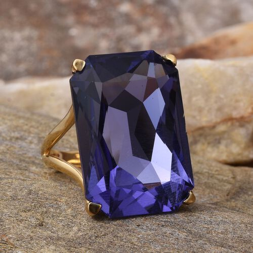 J Francis Crystal from Swarovski - Tanzanite Colour Crystal (Oct) Ring in ION Plated 18K Yellow Gold Bond