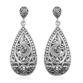Royal Bali Collection Sterling Silver Drop Earrings (with Push Back), Silver wt 10.47 Gms.