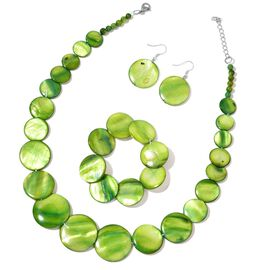 Green Shell Coin Necklace (Size 18 with 2 inch Extender), Stretchable Bracelet (Size 7) and Hook Earrings in Stainless Steel 486.500 Ct.