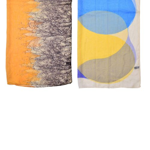 Set of 2 - Designer Inspired Tree Pattern Blue, White and Yellow Colour Printed Scarf (Size 175x70 Cm)