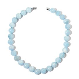 Rare AAA Espirito Santo Aquamarine Ball Beaded Necklace (Size 20) with Magnetic Clasp in Rhodium Plated Sterling Silver 639.000 Ct.
