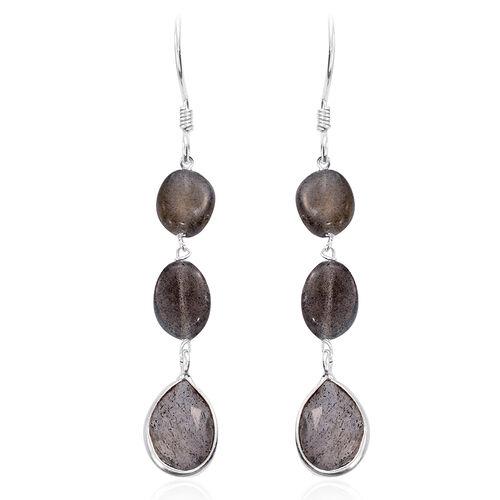 Labradorite Drop Hook Earrings in Sterling Silver 21.230 Ct.