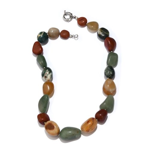 Multi Colour Agate Necklace (Size 20) in Silver Tone 588.750 Ct.