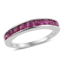RHAPSODY 950 Platinum 1.25 Carat Pigeon Blood AAAA Burmese Ruby Half Eternity Band Ring