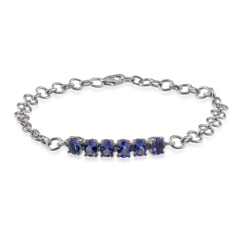 Tanzanite (Ovl) Bracelet (Size 7.5) in Platinum Overlay Sterling Silver 2.000 Ct.