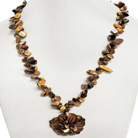 Chocolate Colour Shell and Tigers Eye Necklace (Size 24) in Silver Bond 520.000 Ct.