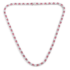 Close Out Deal AAA Simulated Pink Sapphire (Rnd), Simulated White Diamond Necklace (Size 17) in Silver Bond