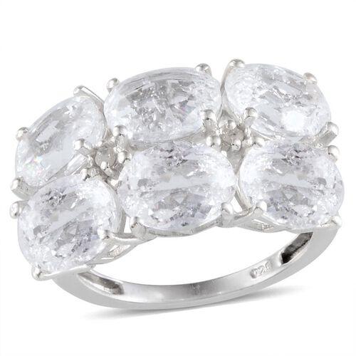 White Crackled Quartz (Ovl), Diamond Ring in Platinum Overlay Sterling Silver 8.430 Ct.