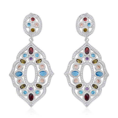Signature Collection ELANZA AAA Simulated Multi Colour Diamond (Ovl), Simulated White Diamond Earrings (with Clasp) in Rhodium Plated Sterling Silver. Silver Wt 19.05 Gms
