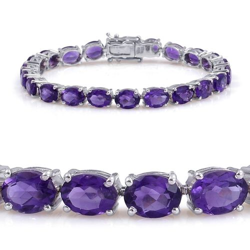 AA Lusaka Amethyst (Ovl) Bracelet in Rhodium Plated Sterling Silver (Size 7.5) 26.000 Ct.