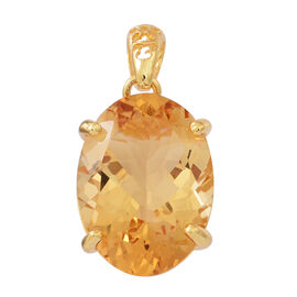 Very Rare Size AAA Uruguay Citrine (Oval 20 x15mm) Pendant in 14K Gold Overlay Sterling Silver 16.000 Ct.