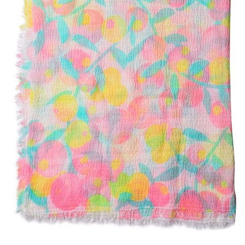 Loquat Tree Pattern Yellow, Green and Pink Colour Scarf (Size 180x90 Cm)