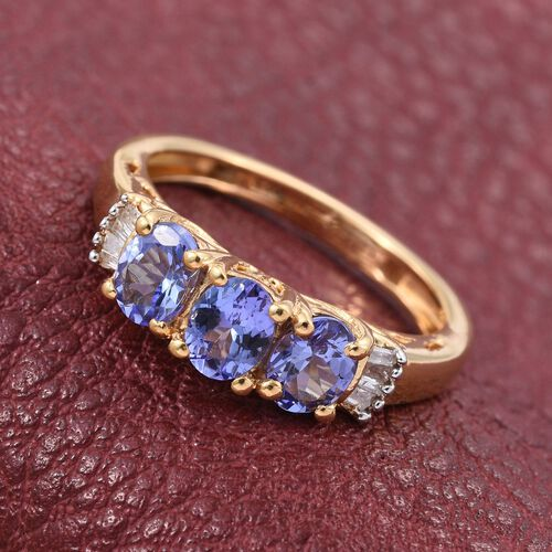 Tanzanite (Ovl), Diamond Ring in 14K Gold Overlay Sterling Silver 1.050 Ct.