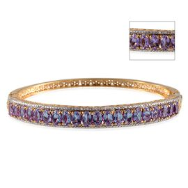 Lavender Alexite (Ovl), Diamond Bangle in 14K Gold Overlay Sterling Silver (Size 7.5) 11.050 Ct.
