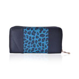 Leopard Pattern Black and Blue Colour Wallet (Size 20x10x2.5 Cm)
