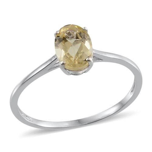 Madagascar Yellow Apatite (Ovl) Solitaire Ring in Platinum Overlay Sterling Silver 1.250 Ct.