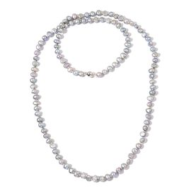 Fresh Water Silver Grey Pearl (6-7mm) Necklace (Size 36) in Silver Tone