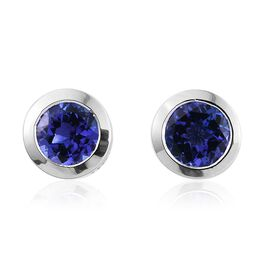 ILIANA 18K White Gold AAA Tanzanite (Rnd) Stud Earrings (with Screw Back) 2.000 Ct.