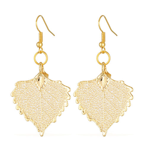 Tucson Collection Cottonwood Leaf Hook Earrings Dipped in Gold (Size 26x33 mm)