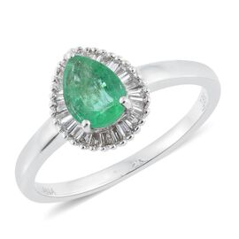 ILIANA 18K White Gold 0.85 Carat Pear AAA Boyaca Colombian Emerald Ring With Diamond SI G-H