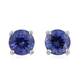 ILIANA 18K White Gold 2 Carat AAA Tanzanite Round Solitaire Stud Earrings with Screw Back.