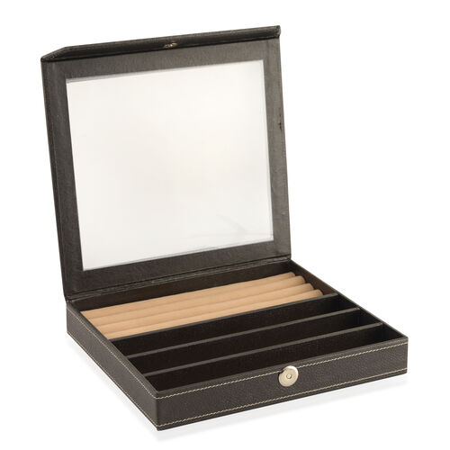 Hand Crafted - Eco Leatherette Black Colour Ring and Bracelet Storage Box (Size 24x22x4 Cm)