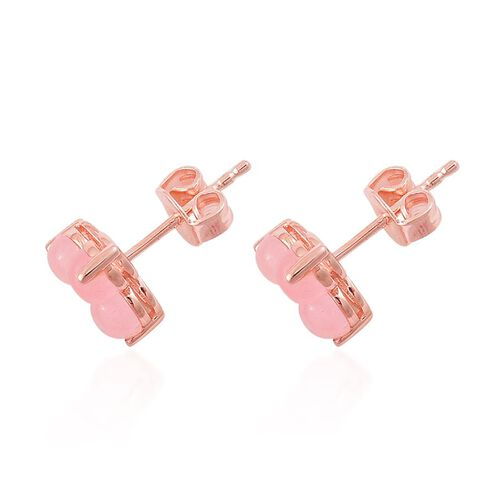 Pink Jade (Rnd) Stud Earrings (with Push Back) in Rose Gold Overlay Sterling Silver 2.250 Ct.
