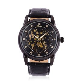 GENOA Automatic Skeleton White Austrian Crystal Studded Black Dial Water Resistant Watch in Black Tone with Stainless Steel Back and Black Colour Strap