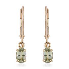 9K Yellow Gold 1 Carat AA Natural Green Tanzanite Lever Back Earrings