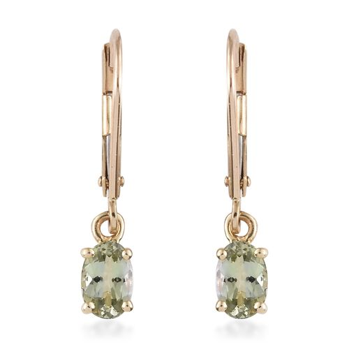 9K Yellow Gold 1 Carat AA Natural Green Tanzanite Lever Back Earrings