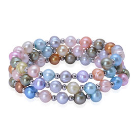 Fresh Water Dyed Multi Colour Pearl Adjustable Bracelet in Silver Tone (Size 7.5) 100.000 Ct.