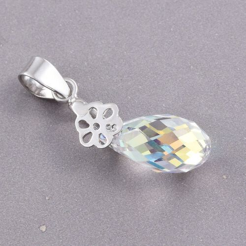 J Francis Crystal from Swarovski - AB Crystal Drop Pendant in Platinum Overlay Sterling Silver