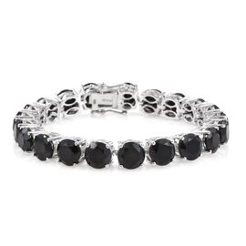Boi Ploi Black Spinel (Rnd) Tennis Bracelet (Size 7) in Platinum Overlay Sterling Silver 50.000 Ct.