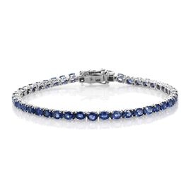 9K White Gold 9.50 Carat  AA Ceylon Blue Sapphire Oval Tennis Bracelet - Size 7.5