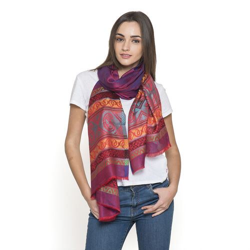 100% Modal Blue, Red and Multi Colour Jacquard Scarf (Size 190x70 Cm)