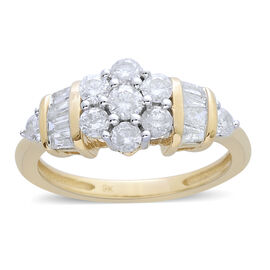 9K Y Gold SGL Certified Diamond (Rnd 0.10 Ct) (I3/ G-H) Ring 1.000 Ct.