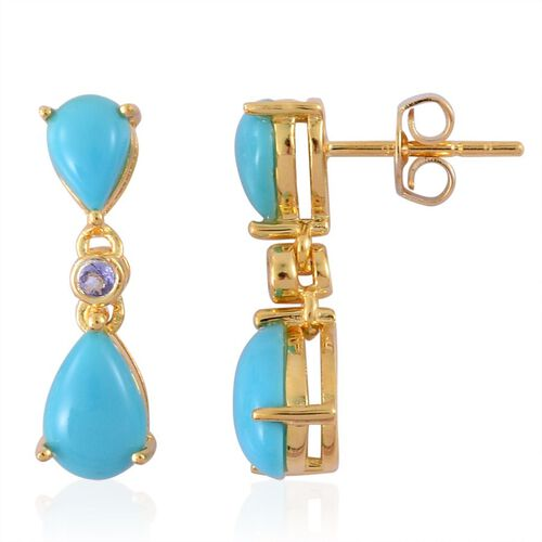 Arizona Sleeping Beauty Turquoise (Pear), Tanzanite Earrings (with Push Back) in Yellow Gold Overlay Sterling Silver 2.830 Ct.