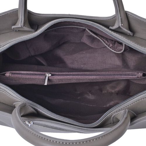 Set of 2 - Dark Grey Colour Large Handbag with Adjustable and Removable Shoulder Strap and Small Handbag (Size 36x25x16Cm, 21x11.5 Cm)