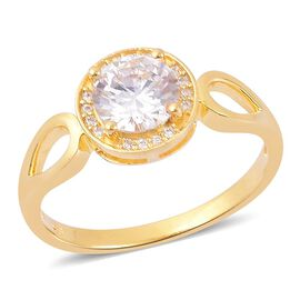 ELANZA AAA Simulated White Diamond Ring in Yellow Gold Overlay Sterling Silver
