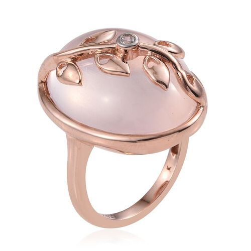 Kimberley Wild at Heart Collection Rose Quartz (Ovl 30.00 Ct), Natural Cambodian Zircon Ring in Rose Gold Overlay Sterling Silver 30.010 Ct.
